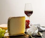Avsmakning av mjuk ost Tomme för forntida fransk demi från den franska fjällängen Royaltyfria Bilder