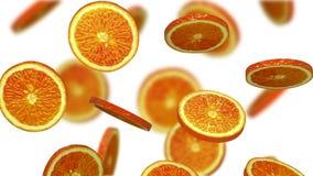Avsnitt av apelsinen som faller på vit bakgrund, illustration 3d Royaltyfria Foton