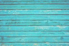 Avsnitt av wood panel för turkosblått från en sjösidastrandkoja Royaltyfria Foton