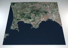 Avsnittet 3d sätter in Flegrei, Naples, Campania, Italien, splittring av jordningen Royaltyfri Fotografi