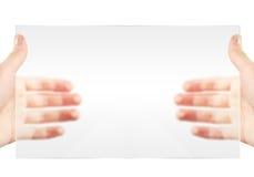avstånd för håll för hand för blank kopieringsskärm tomt Royaltyfri Bild