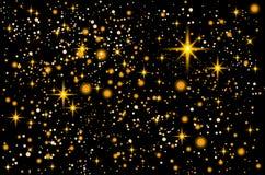 avstånd Jul kortmallen för det nya året med den abstrakta guld- stjärnan formade konfettibakgrund kosmos Arkivbild