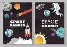 avstånd spacewalk baner Uppsättning vektor royaltyfri illustrationer