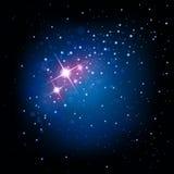 Avstånds- och stjärnabakgrund stock illustrationer