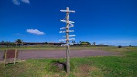 Avståndspol på Hanga Roa, påskö, Chile arkivfoto