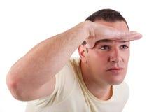 avstånd som ser mannen Arkivfoton