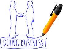 Avtal för handskakning för teckningsaffärsfolk royaltyfri illustrationer