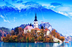 avtappad Europa lakeslovenia whit Royaltyfri Bild
