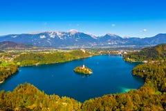 avtappad lake slovenia Royaltyfri Bild