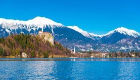 avtappad lake slovenia Snöig berg med klar blå himmel på bakgrunden Arkivfoto