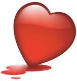 avtappande glas- hjärta Arkivfoto