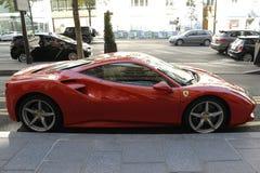 Avto from Paris. Red  automobili lamborghini in Paris Royalty Free Stock Images