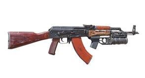 Avtomat Kalashnikova AK-47, kalashnikov som isoleras på vit Royaltyfria Bilder