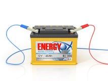 avtomobÑ-lny baterii s kontakt Clem przy bÑ-lomu fonÑ- Obraz Stock