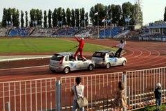 Avtorodeo. Το τέχνασμα για τα αυτοκίνητα LADA Kalina AvtoVAZ Στοκ φωτογραφίες με δικαίωμα ελεύθερης χρήσης