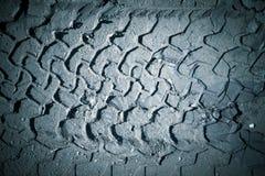 Avtrycken av gummihjulet på våt sand tonat Royaltyfri Bild