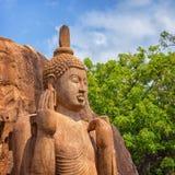 Avukana雕象是菩萨的一个常设雕象 斯里南卡 Ho 免版税库存图片