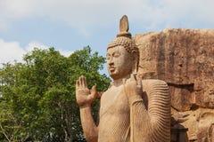Avukana kamienia statua Buddha Sri Lanka, Kekirawa Zdjęcie Stock