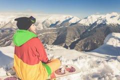 Avventura agli sport invernali Ragazza dello Snowboarder Fotografie Stock
