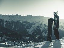 Avventura agli sport invernali Ragazza dello Snowboarder Immagine Stock Libera da Diritti