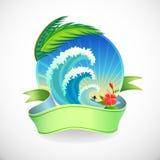Avventura che pratica il surfing nell'isola tropicale Immagini Stock Libere da Diritti
