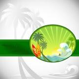 Avventura che pratica il surfing nell'isola tropicale Immagine Stock