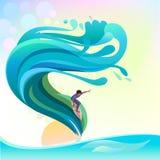 Avventura che pratica il surfing sulle onde di oceano blu Immagini Stock Libere da Diritti