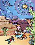 Avventura del bambino: Campground del deserto Immagini Stock