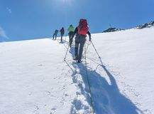 Avventura della montagna nelle alpi del Tirolo immagini stock libere da diritti