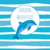 Avventura marina, viaggio per mare, carta nel colore blu illustrazione vettoriale