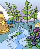 avventure che pescano bambino Michigan Immagini Stock