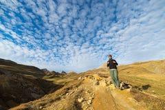 Avventure nelle alpi nella stagione di autunno Fotografie Stock