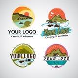 Avventuri e modello di campeggio di logo messo - vector il illustrationAdv illustrazione di stock
