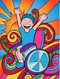 Avventuriere della sedia a rotelle illustrazione vettoriale