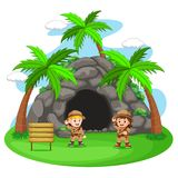 Avventuriere due davanti alla caverna royalty illustrazione gratis