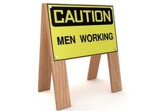 AVVERTENZA: Funzionamento degli uomini Immagini Stock