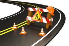 Avvertimento in costruzione sopra della strada. Coni di traffico. Immagine Stock