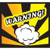 Avvertimento del fondo del libro di fumetti! Pop art della scheda del segno Immagini Stock