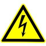 Avvertimento del pericolo elettricità Fondo giallo Fotografie Stock