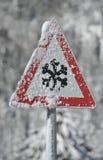 avvertimento della neve e del ghiaccio fotografie stock