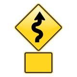 Avvertimento della strada di zigzag Fotografia Stock Libera da Diritti