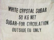 Avvertimento di limitazione sul sacchetto dello zucchero Immagini Stock