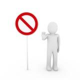 avvertimento rosso di bianco del segno di arresto umano 3d Fotografia Stock Libera da Diritti