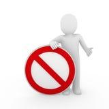 avvertimento rosso di bianco del segno di arresto umano 3d Fotografie Stock