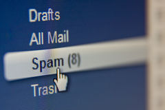 Avvertimento! Spam Immagine Stock