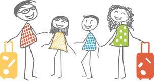 Avvikelse på semestern för en familj stock illustrationer