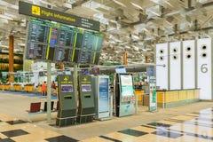 Avvikelsebräde i den Changi flygplatsen Avvikelse Hall Singapore Arkivbilder