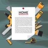 Avviso di carta come struttura con rinnovamento della casa del titolo e lo spazio della copia immagini stock