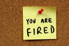 Avviso di scioglimento di job Fotografia Stock Libera da Diritti