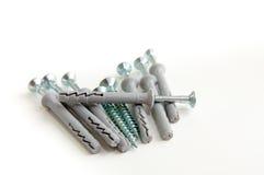 Avviti la riparazione del mucchio con due viti d'argento compreso Fotografia Stock